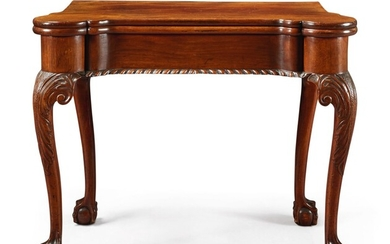 The Schuyler Family Very Fine and Rare Chippendale Carved and Figured Mahogany Turret-Top Card Table, New York, circa 1760