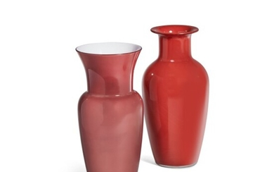 Two Red Glass Vases, Modern