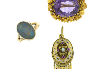 Two late 19th century gem-set jewellery items and a later opal triplet ring.