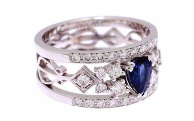 (-), White gold band ring, 18 krt., with...