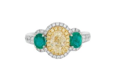 Yellow Diamond Ring with Emerald Accents