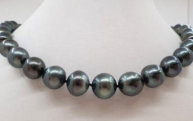 11x14.7mm Peacock Tahitian pearls - Necklace