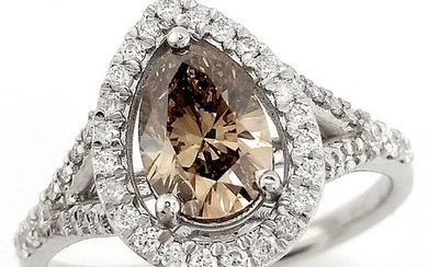 1.37ct Fancy Yellowish Brown, Diamonds - 14 kt. White gold - Ring - ***No Reserve Price***