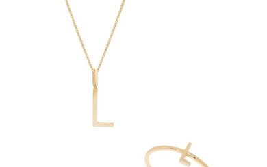 14 kt. Gold, Yellow gold - Necklace with pendant, Ring, Set