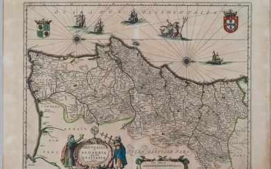 1645 Jansson Map of Portugal and Parts of Spain