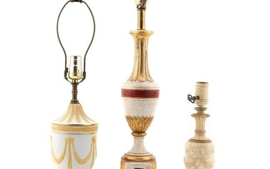 3 PCS, CREAM TABLE LAMPS, WEDGWOOD STYLE