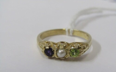 9ct YELLOW GOLD SUFFRAGETTE STYLE RING, amethyst, seed pearl...