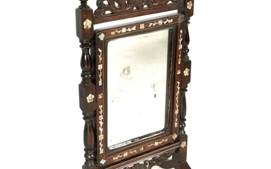 A 19TH CENTURY CHINESE MOTHER OF PEARL INLAID HARDWOOD TOILE...