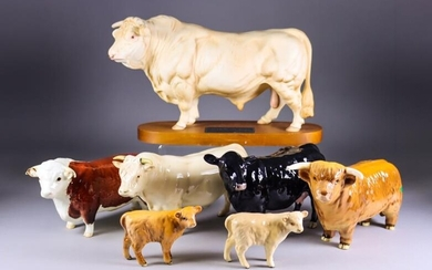 A Beswick Pottery 'Connoisseur' Model of a Charolais Bull,...