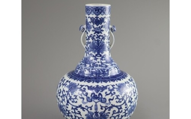 A Chinese blue and white bottle vase, Daoguang seal mark and...
