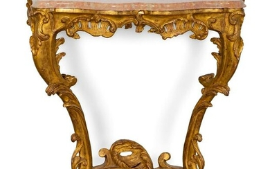 A Louis XV Style Carved Giltwood Console Height