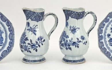A Pair of Chinese Blue and White Porcelain Jugs; Together with a Pair of Blue and White Porcelain Plates