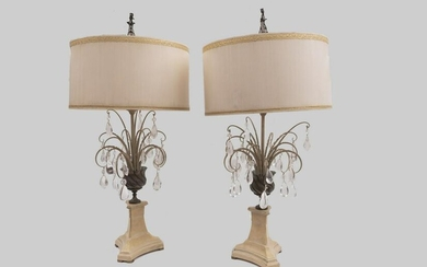 A Pair of Contemporary Designed Tole Table Lamps With