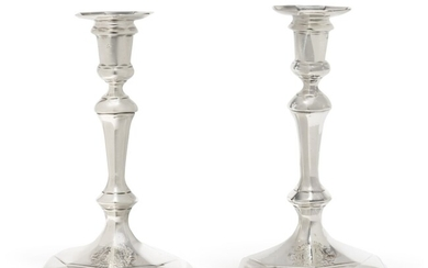 A Pair of George I Silver Octagonal Candlesticks, George Boothby, London, 1720, Britannia Standard
