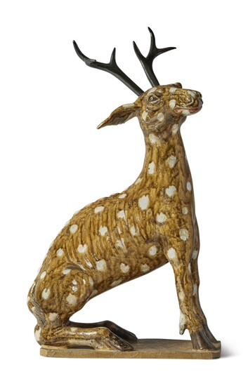 A Rare Chinese Brown-glazed Stoneware Figure of a Stag Qing Dynasty, Late 18th / Early 19th Century