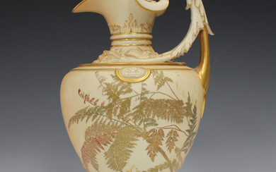 A Royal Worcester blush ivory ewer, circa 1890, decorated with gilt enriched fern fronds, the high s