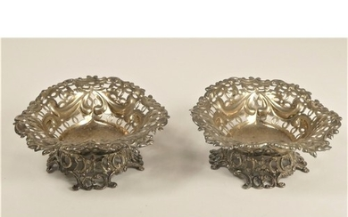 A Victorian silver pair of heart shape dishes, London 1895, ...