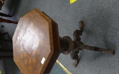 A Victorian walnut and marquetry Sewing table, of octagonal ...