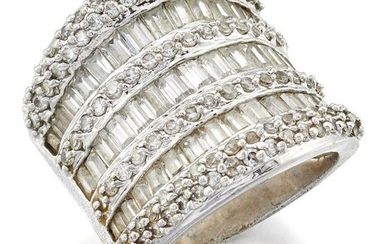 A diamond and baguette diamond broad half-hoop ring, composed of three rows of baguette diamonds and four rows of pave diamonds, to a tapering hoop, ring size N