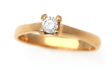 A diamond ring set with a brilliant-cut diamond weighing app. 0.19 ct., mounted in 14k gold. Size app. 53. – Bruun Rasmussen Auctioneers of Fine Art