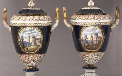 A pair of German cobalt ground porcelain vases and covers, ...