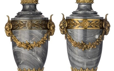 A pair of Neoclassical bleu Turquin marble cassolettes with gilt bronze mounts, H 55 cm