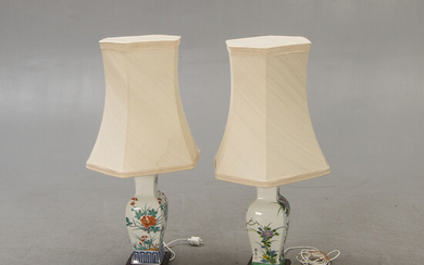 A pair of porcelain table lamps later part of the 20th century