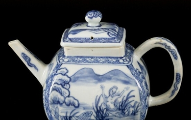 A porcelain teapot with decor of a mermaid and carp in a lake, China, 18th...