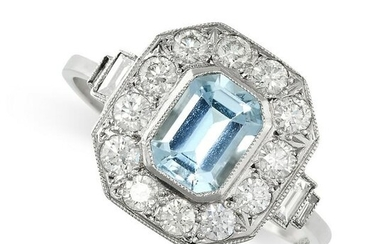 AN AQUAMARINE AND DIAMOND RING set with an emerald cut