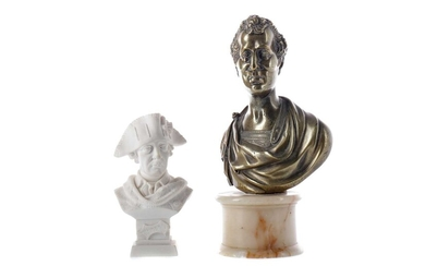 AN EARLY 20TH CENTURY BRONZE BUST OF A ROMAN SENATOR, ALONG WITH ANOTHER BUST