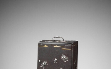 AN EXCEPTIONALLY RARE INLAID IRON MINIATURE KODANSU (CABINET) WITH TURTLES AND CRANES