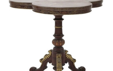 An Anglo-Oriental red lacquer tripod table
