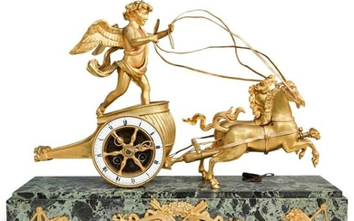 """Antique French """"Cupid Chariot"""" Bronze & Marble Clock"""