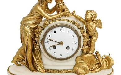 Antique French Gilded Bronze & Marble Mantel Clock