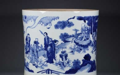 A BLUE AND WHITE EIGHT IMMORTALS BRUSHPOT