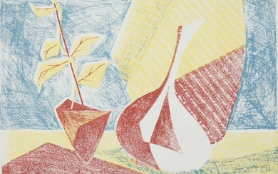 Brian Seaton, British, mid-20th century- Abstract Still life; lithograph in colours, signed and dated '54 in ink, 28 x 38 cm: together with a large collection of prints and abstract coloured ink compositions by the same artist, variously signed...