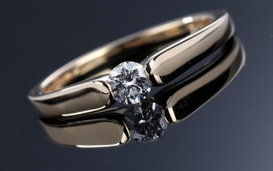 Diamond solitaire ring in 18K white gold of 0.19 ct