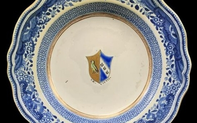 Chinese Armorial Blue And White Charger, Plate