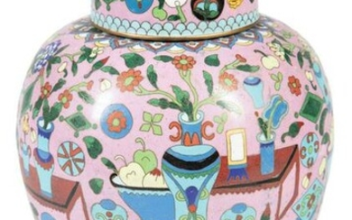 Chinese Cloisonne Enamel Covered Jar