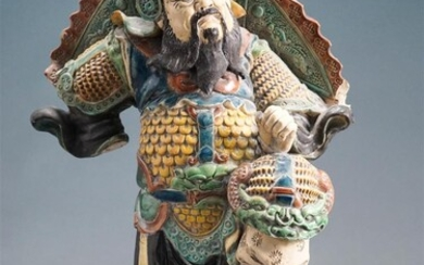 Chinese Glazed Ceramic Figure of a Warrior (as is), H: 18-1/4 in