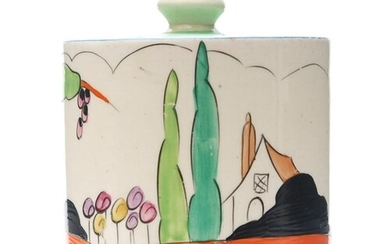 Clarice Cliff - Applique Idyll - A drum shaped preserve pot ...