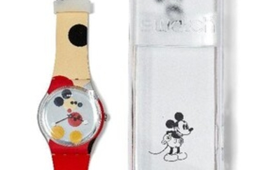 Damien Hirst, British b.1965- Swatch Mirror Spot Mickey [SUOZ290S]; unisex Swatch watch in plastic, created to commemorate the 90th anniversary of Mickey Mouse, numbered 15403/19999, made in Switzerland, in original mirror spot sleeve, overall 27.1...