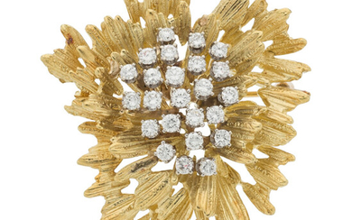 Diamond, Gold Brooch The brooch features full-cut diamonds weighing...