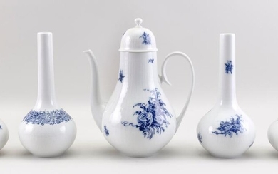 """FIVE PIECES OF BJORN WIINBLAD FOR ROSENTHAL """"ROMANCE IN BLUE"""" PORCELAIN"""
