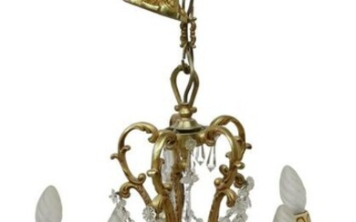 FRENCH LOUIS XV STYLE GILT METAL 5-LT CHANDELIER