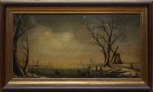 Flemish School 18th century, Iced Landscape with people