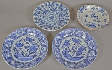 Four Delft Pottery Chargers