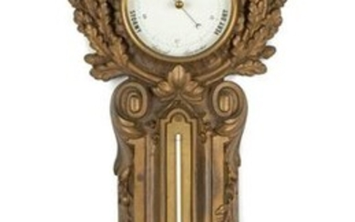 French Cast Iron Barometer and Thermometer Wall Clock