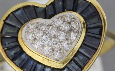 """Gold """"heart"""" ring set with a pavé of brilliants in..."""