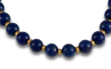ITALIAN NECKLACE GOLD PLATED SILVER LAPIS LAZULI